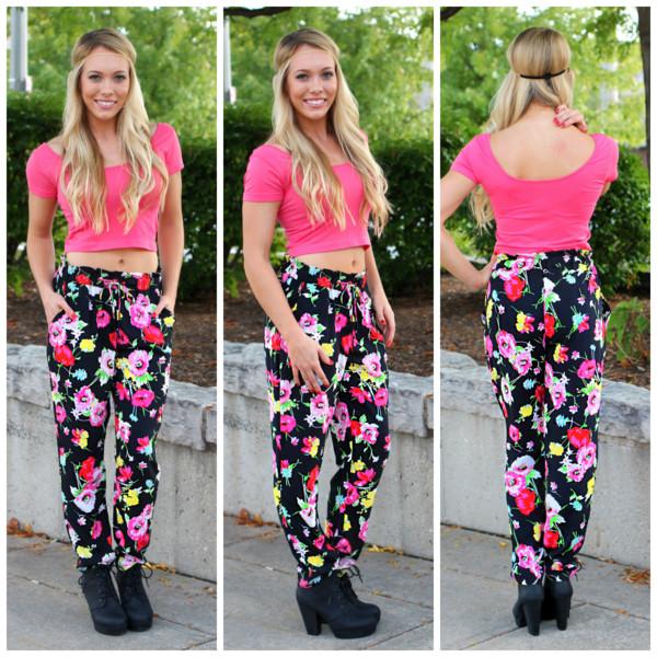 harem pants bright colorful top shoes