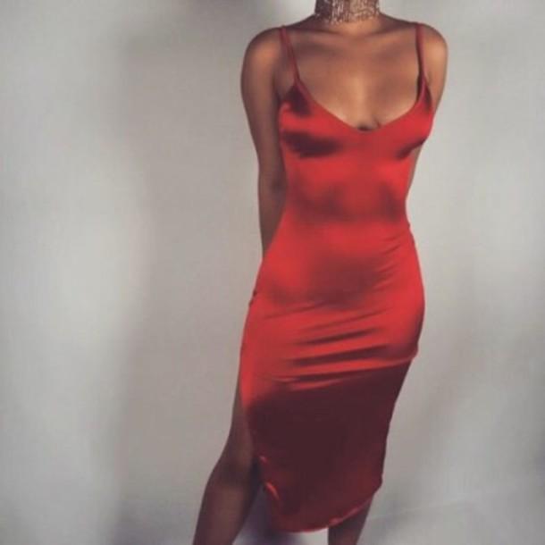 dress red dress silk dress red bodycon bodycon dress