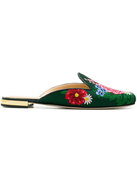 charlotte olympia rose women mules leather green shoes