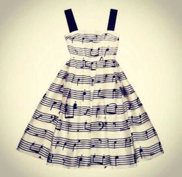Dress music notes black and white thick straps wheretoget