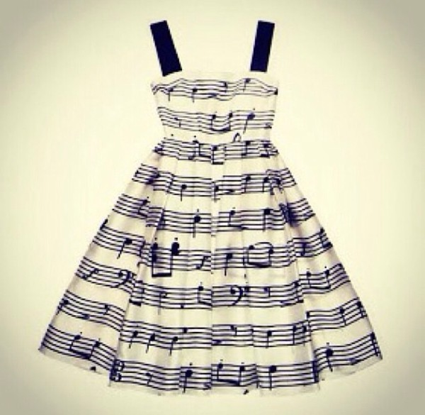 dress music notes black and white thick straps