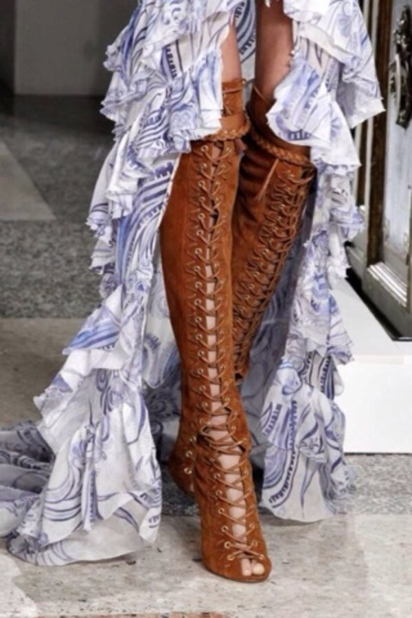 shoes lace up boots boho bohemian vintage dress