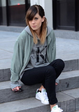 ombre hair calvin klein adidas trainers jeans sneakers black jeans skinny jeans grey sweater sweater stan smith ombre grey leather jacket pearl short hair lovely streetwear blogger white sneakers winter swag fall outfits fashion style trendy cool tumblr tumblr outfit tumblr clothes tumblr sweater leggings black black leggings winter coat earrings jewelry