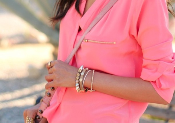 shirt blouse coral zip pink gold zip long sleeves