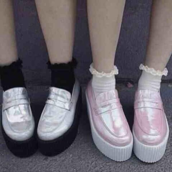 shoes holographic pastel kawaii kawaii grunge socks platform shoes creepers soft grunge pink black white