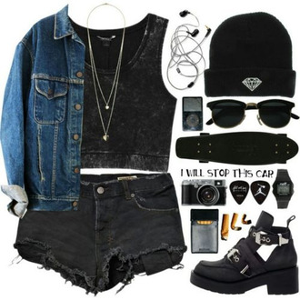 t-shirt black shorts jacket denim grunge 90's fashion