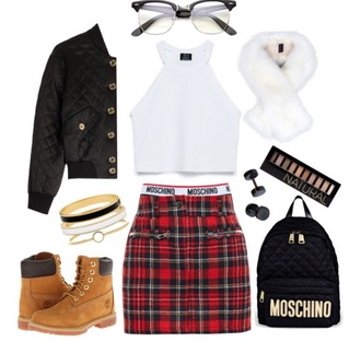 jacket bomber jacket fur faux fur tank top crop tops plaid skirt plaid moschino make-up timberlands accessories