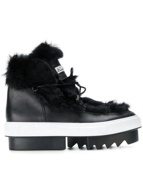 Albano women platform boots leather black shoes