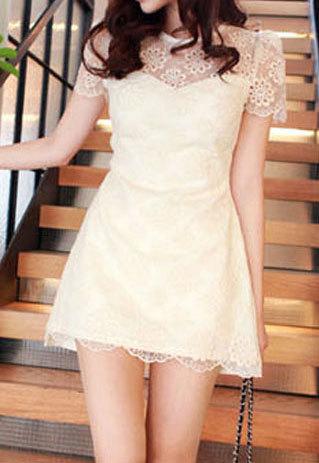 shopbazar shopping mall — [grzxy6601606]Short Sleeve Crochet Flower Cut Out Lace Mini Dress