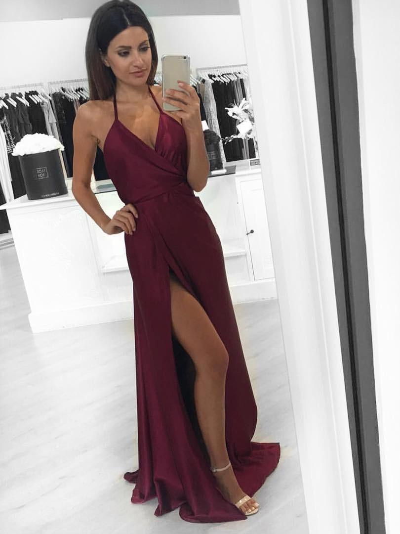 Hot V-neck A-line Silk-like Satin Floor-length with Split Front Prom Dress - dressesofgirl.com