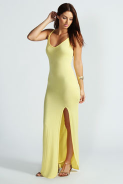 Estelle Strappy Front Split Maxi Dress at boohoo.com