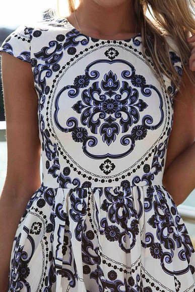dress little dress blue dress blue and white motif dress