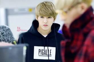 sweater exo kris hoodie black sweatshirt jacket kpop black hoodie