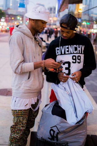 pants new york city givenchy hobo chic hobo bucket hat 90s style vintage snapback sweater sweatshirt t-shirt shirt fashion killa gold grey hoodie grey jacket black black sweatshirt menswear