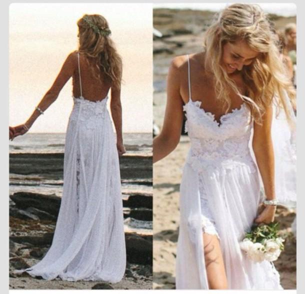 Wedding Dress Beach Wedding Short Dress Long Train Dress