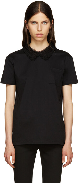 t-shirt shirt lace black black lace top