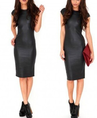 dress black midi dress black midi dress black dress faux leather leather dress bikiniluxe
