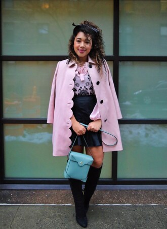 colormecourtney blogger skirt coat blouse shoes pink coat blue bag knee high boots mini skirt