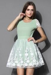 chicwish,mint floral dress,organza dress