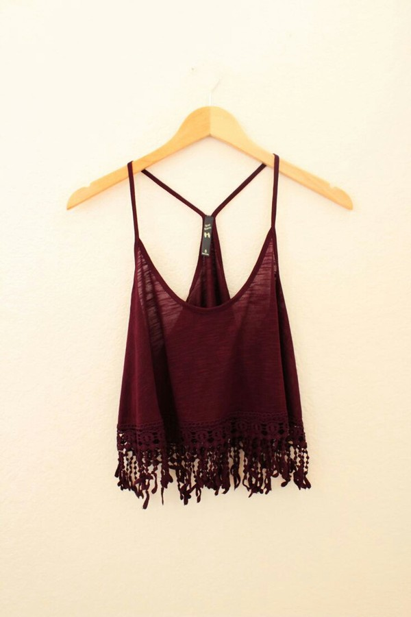 shirt tank top dark red tank top blouse vest top burgundy strappy fringes