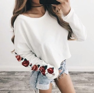 sweater roses white sweater cropped sweater comfy