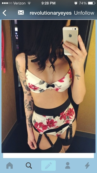 underwear panties bra floral lingerie garder belt
