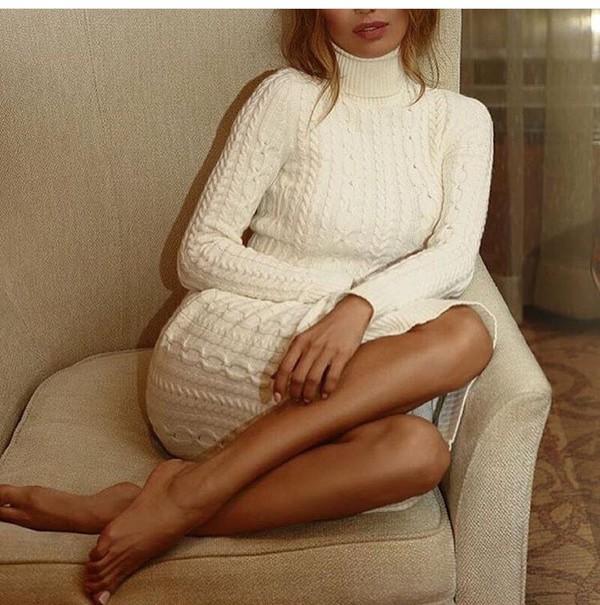 Dress Off White Sweater Dress Knitted Dress Winter