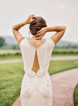 dress wedding dress wedding gown white dress sequins embroidered open back country wedding