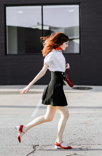 shoes white shirt shirt skirt black skirt bag red shoes sandals