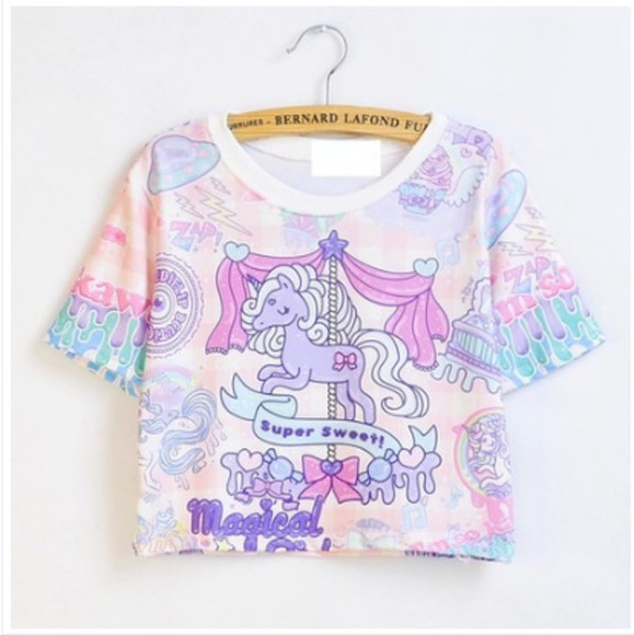 unicorn top kawaii harajuku little pony unicorn tee