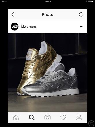 shoes silver gold reebok
