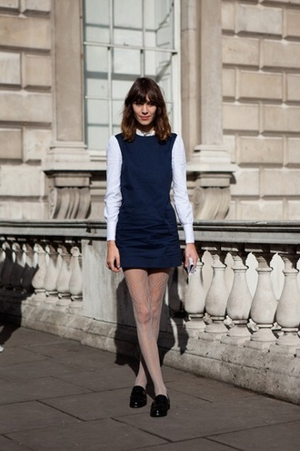 alexa chung pinafore mod 60s style model navy tight fitted shift alineht
