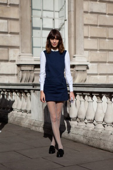 shift alexa chung pinafore mod 60s style model navy tight fitted alineht