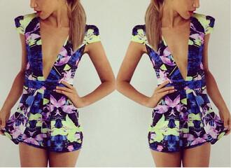 jumpsuit ayamare body suit blue deep v neck floral london paris chic muse chic ootd summer