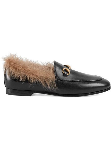 fur women leather black shoes