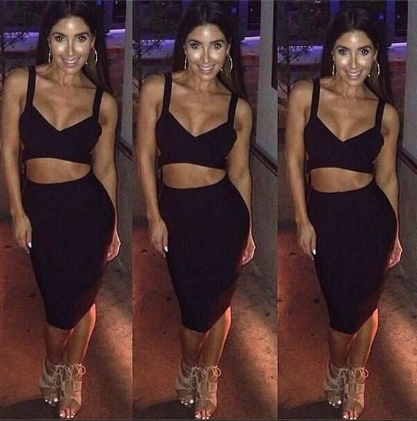 bandage dress two-piece bodycon dress little black dress black dress shop cut-out dress little black dress melissa molinaro midi skirt pencil skirt