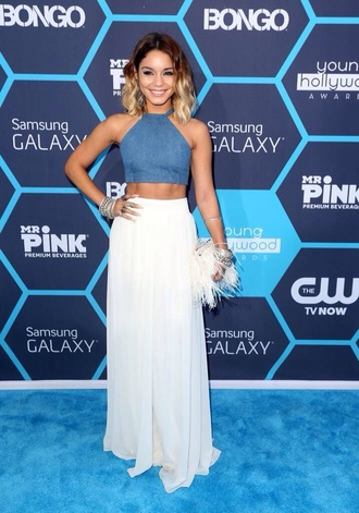 skirt white maxi skirt blouse vanessa hudgens palazzo pants chiffon pants chiffon skirt top denim crop tops bongo jeans jean top jean tops holter holtertop young hollywood awards vanessa hudgens high waisted free flowy pants love love love the top love the cut of the top dress flowy cute
