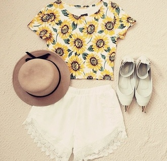 shirt sunflower shirt crop tops style cute edgy hat shorts high waisted woman's clothing shoes blouse
