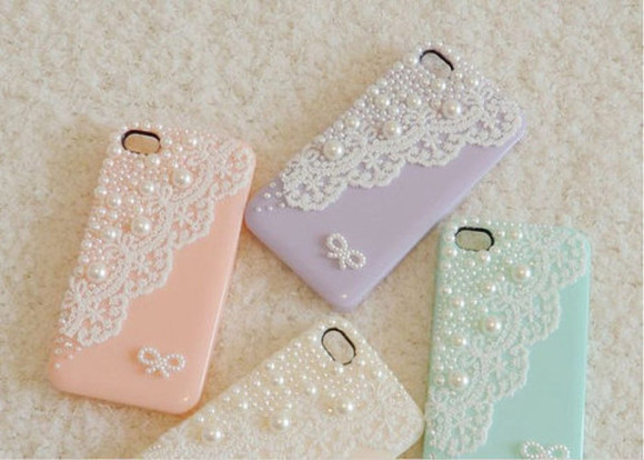 jewels iphone phone cute covers cases pastel pearl coral purple beige