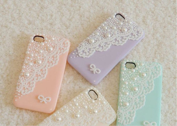 jewels iphone cover phone phone cover pastel pearl coral purple beige cute phone cover lace lavender pastel pink mint white pearl bow