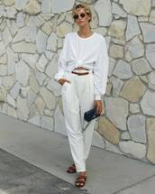 top,white shirt,long sleeves,slide shoes,white pants,belt,mini bag,sunglasses,pants,chanel bag,black bag,white top