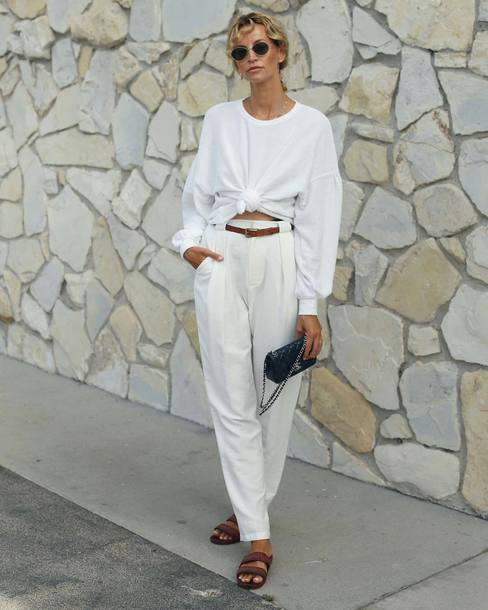 top white shirt long sleeves slide shoes white pants belt mini bag sunglasses pants chanel bag black bag white top