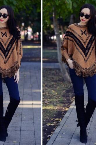 top beige tribal pattern cape lookbook casual trendy zaful fall outfits fringe sweater