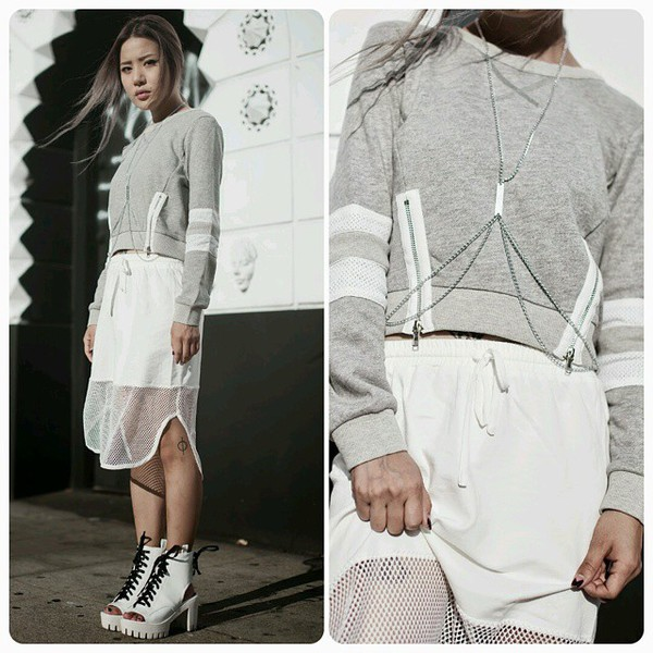 skirt mesh sporty mesh cutoutsides top feral creature blogger blogger outfit pencil skirt mesh skirt zip stripes sweater jersey
