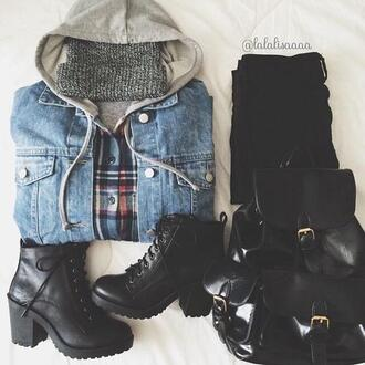 shoes black boots boots hipster high heels high heels boots jacket coat demin cotton hoodie bag hat blouse jeans belt grunge denim jacket flannel beanie flannel shirt cute girl girly black
