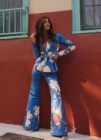 pants flowers blazer rocky barnes instagram spring outfits blogger two-piece flare flare pants jacket