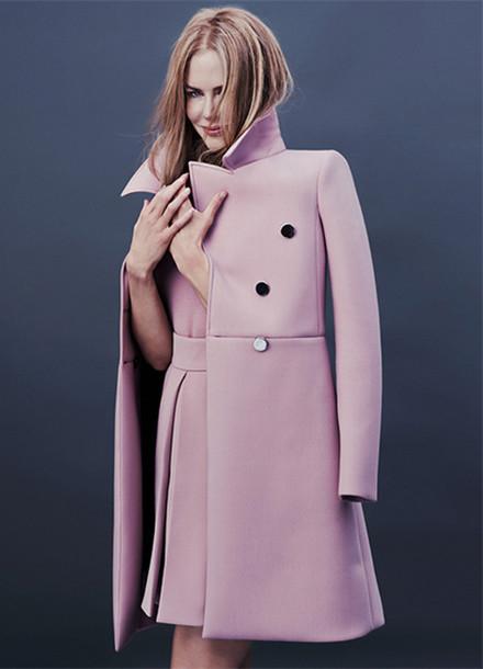 coat nicole kidman elegant pea coat lilac