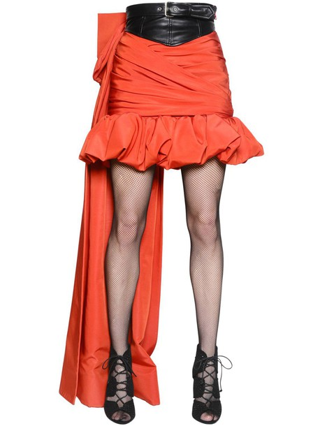 MOSCHINO Draped Faille & Faux Leather Skirt in black / red