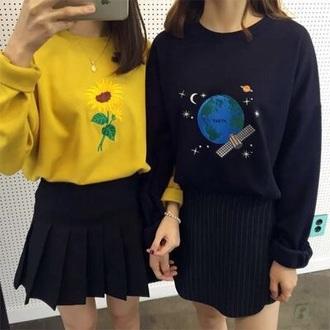 sweater shirt bff bff sweaters yellow sweater black sweater