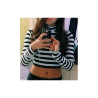 shirt crop tops stripped shirt pretty long sleeve crop top long sleeved blue and white striped navy white